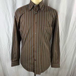 Corneliani Mens Brown M/40 Striped Dress Shirt EUC